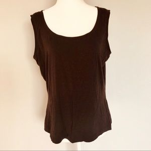 St. John Gold Label Deep Brown Stretchy Tank Top